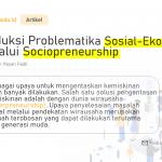 Reduksi Problematika Sosial-Ekonomi Melalui Sociopreneurship – Vol 1.0